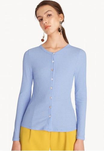 ebbcaa1f427 Rib Fitted Button Up Cardigan - Blue
