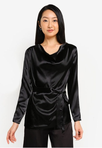 ZALORA BASICS black Lounge Cowl Neck Long Sleeve Top 5005FAA55B72B5GS_1