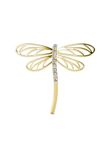 Her Jewellery yellow Dragonfly Brooch - Made with premium grade crystals from Austria A1E86ACBE00F64GS_1