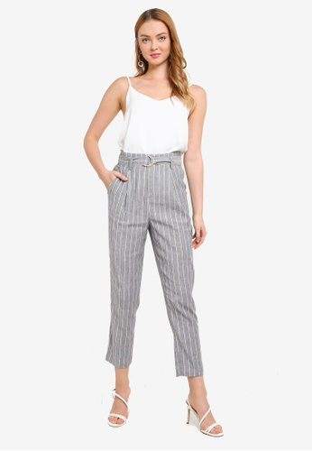 Hopeshow grey Paperbag Waist Striped Slim Fit Cropped Pants 7BCCFAA1EB0BFDGS_1