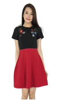 980559b0a9 MOONRIVER red Karine Embroidery Fit And Flare Dress 4B380AA12858C2GS 1