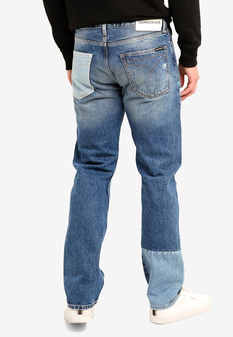Klein Calvin Shanon Calvin Jeans Blue 035 Patch Klein Straight Jeans gxI6f