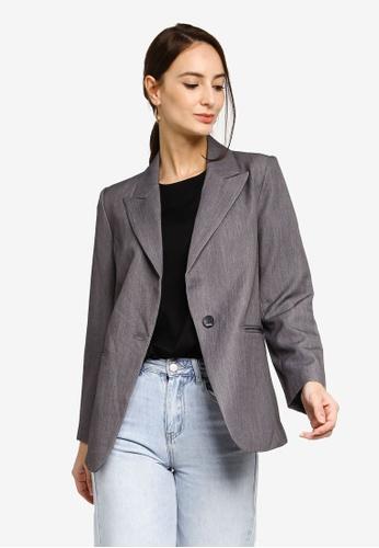 Hopeshow grey Single Button Casual Blazer FE143AAD4B4297GS_1