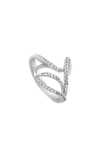TOMEI white TOMEI Marquetry of Swirls and Twirls Ring, Diamond White Gold 375 (R2553) C25BFACDF6BF91GS_1
