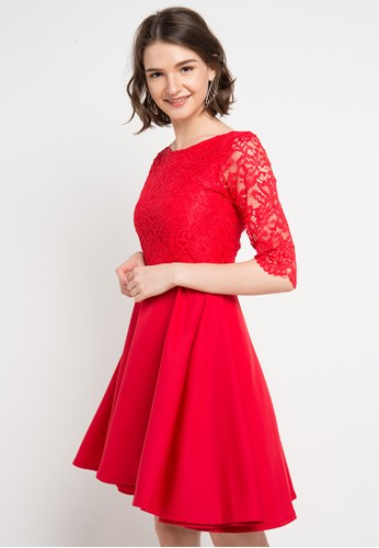 FAME red Fit & Flare Dress 15C46AA3E1D410GS_1