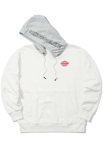 :CHOCOOLATE white Contrast hood hoodie 7E1B4AAC99CE55GS_1