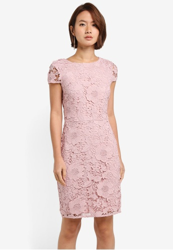 Dorothy Perkins pink Blush Crochet Lace Pencil Dress D5D3BAA5557665GS_1