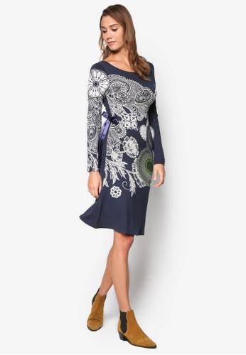 Anais 印花esprit retail圓領側繫帶洋裝, 服飾, 洋裝