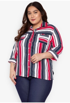 9bfc3b524f0204 Maxine multi Plus Size Striped Shirt 3 4 Sleeves with Pockets  35DF9AA8FC9B43GS 1