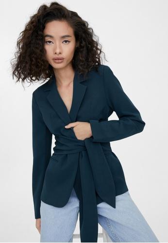 Pomelo blue Tie Waist Blazer - Navy 297A2AA5A73D87GS_1