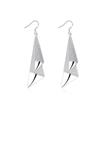 Glamorousky silver Fashion Bright Geometric Triangle Earrings 23665AC16B2B95GS_1