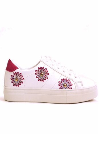 Crystal Korea Fashion white and pink Korean System Of Wild Tie Sequins Flower Pattern Casual Shoes CR681SH2UVIXHK_1