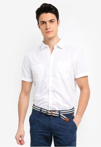 ESPRIT white Woven Short Sleeve Shirt A7369AAA932A61GS_1