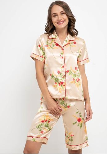 Anne Wintours beige Pyjama Pijama Satin Silk Short Sleeve Short Pants Sleepwear 28129AA3D1CA31GS_1