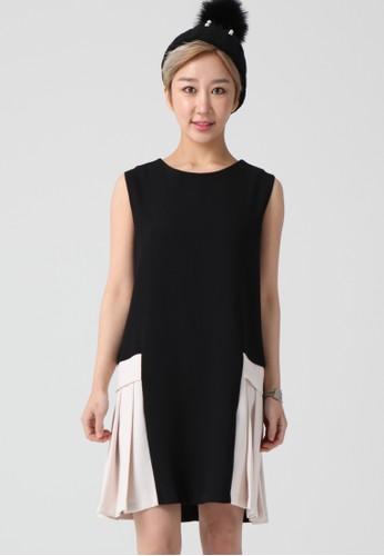 韓流時尚 側白色百褶無袖連衣裙 salon espritF4088, 服飾, 及膝洋裝