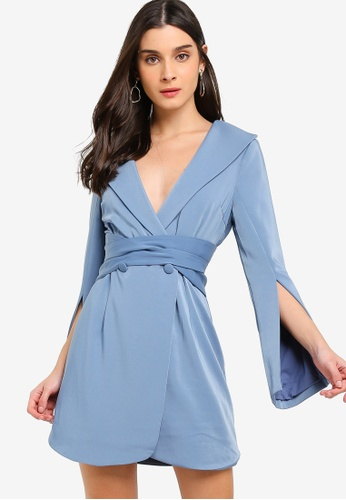 Lavish Alice blue Obi Belted Mini Dress EEF03AAF6DE8AEGS_1