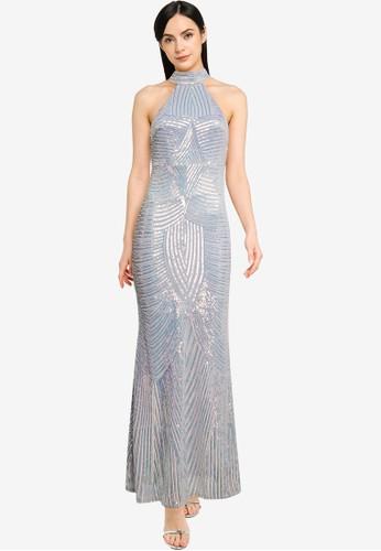 Goddiva silver High Collar Sequin Maxi Dress FDB5FAA71F2F05GS_1