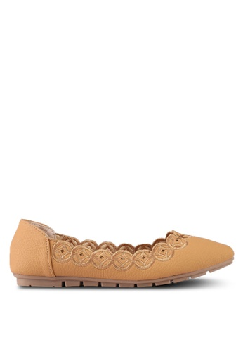 Mimosa brown Embroidery Flats 6C69DSH9620CB7GS_1