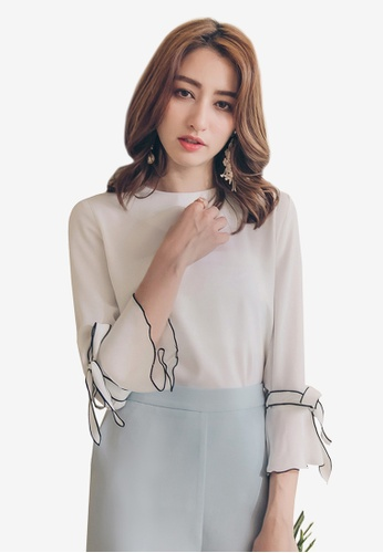 YOCO white Trumpet Sleeves Blouse 4A549AAA8A79D7GS_1