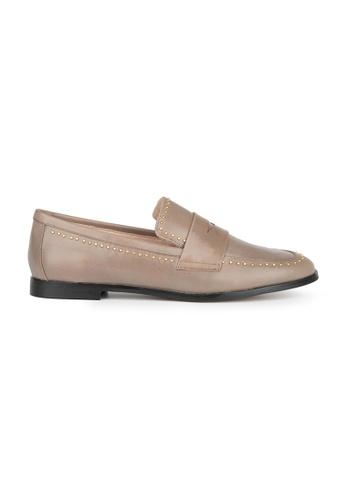 MAUD FRIZON grey Calf Leather Loafer With Mini Stud Embellishment B0CA3SH2597056GS_1