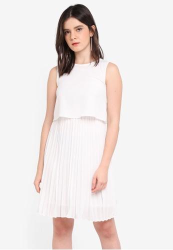 ZALORA white Pleated Bottom Dress B8E8AAA465DC0FGS_1
