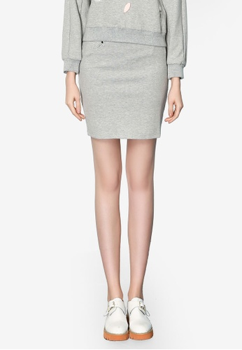Hopeshow grey Woolen Mini Skirt BA2BAAAA5A381AGS_1