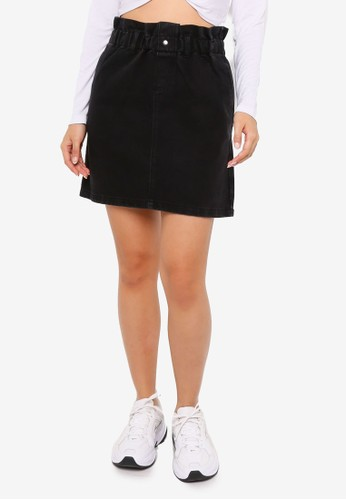 Noisy May black Judo High Waist Paperbag Skirt C5122AA827E5B1GS_1