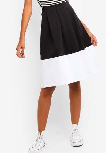 ZALORA BASICS black Basic Colourblock Hem Skirt E530BAA64188C1GS_1
