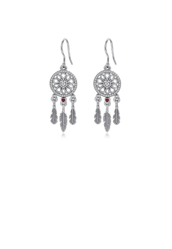 Glamorousky white 925 Sterling Silver Fashion Ethnic Dream Catcher Tassel Earrings with Cubic Zirconia BA294AC9FE56C8GS_1