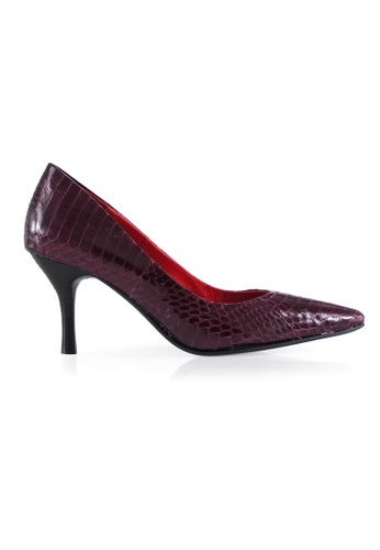 Gripz red Classysnake Pointed Toe Python Leather Pumps 61578SH174F5B6GS_1