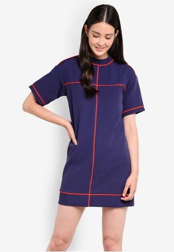ZALORA orange and navy High Collar Panel Shift Dress A6BBEAAB394998GS_1