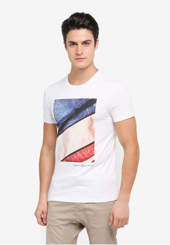 Calvin Klein white Photo Applique Crew Neck Short Sleeve T-Shirt - Calvin Klein Jeans 4A942AA755D22BGS_1