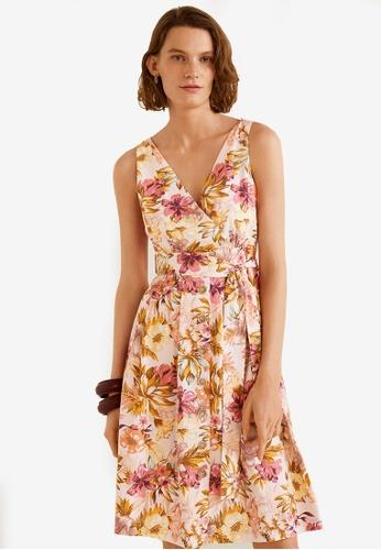 Mango white and multi Floral Print Linen-Blend Dress 429A7AA91B13FCGS_1