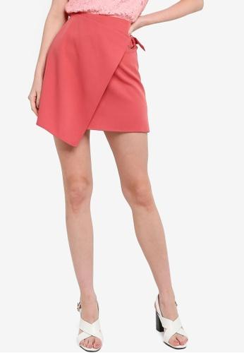 ZALORA WORK 粉紅色 金屬環交叉造型裙 0A19BAAF5EFB42GS_1