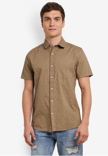 Topman 綠色 打印 短袖襯衫 TO413AA0S4QWMY_1