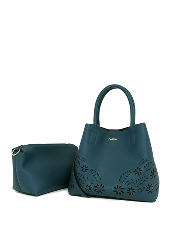 Carlo Rino green Carlo Rino 0304065-001-16 Two-way Tote (Teal Green) A9DC2AC2C710CBGS_1