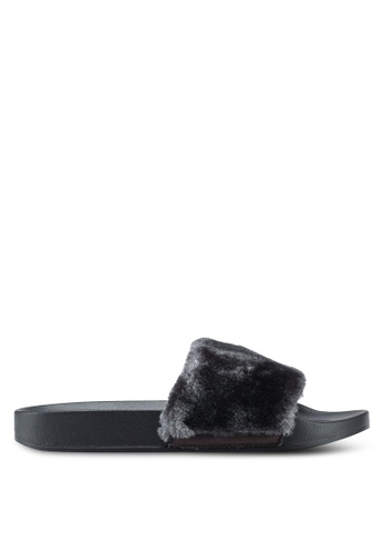 Carlton London grey Furry Sliders FE835SH4B4E7E7GS_1
