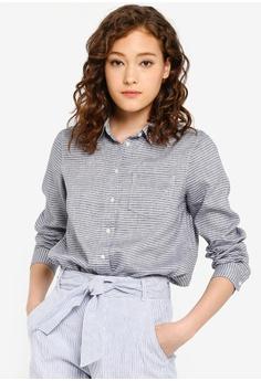 cb564c7e Banana Republic blue Long Sleeve Qunn Linen Stripes Shirt 2109EAA27AA5B9GS_1