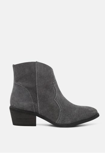 RAG & CO grey Stack Heel Ankle Boots AF237SH6052907GS_1