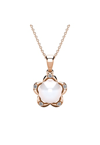 Her Jewellery Pearlie Floral Pendant (Rose Gold) - Embellished with Crystals from Swarovski® B72AEAC3BAF14CGS_1