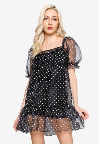 MISSGUIDED black Organza Polka Dot Tiered Smock Dress 39F92AA5F74F57GS_1