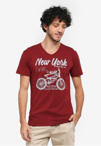 Fidelio red New York Ride Graphic Printed V-Neck T-Shirt EFCF7AA45D311EGS_1