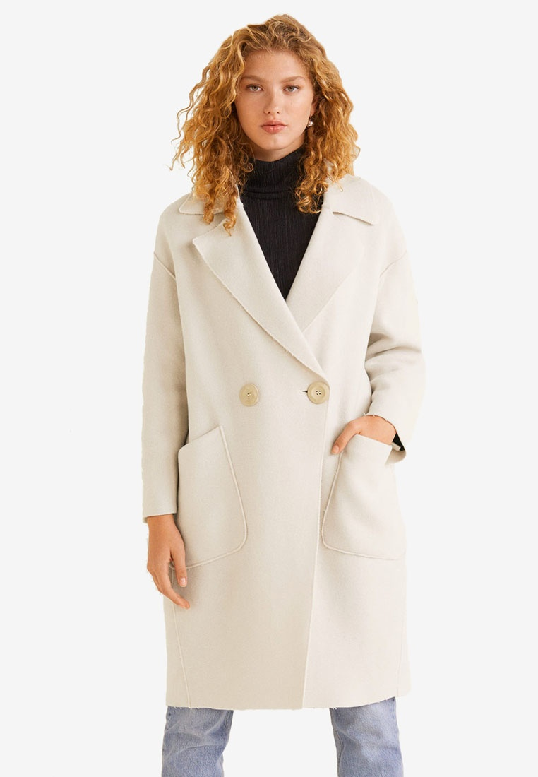 Unstructured Natural White Wool Mango Virgin Coat 78q4U4