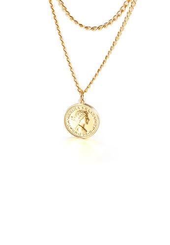 Glamorousky 銀色 時尚簡約鍍金色幾何圓形女王硬幣316L鋼吊墜配雙層項鏈 02EB2AC5A8D456GS_1