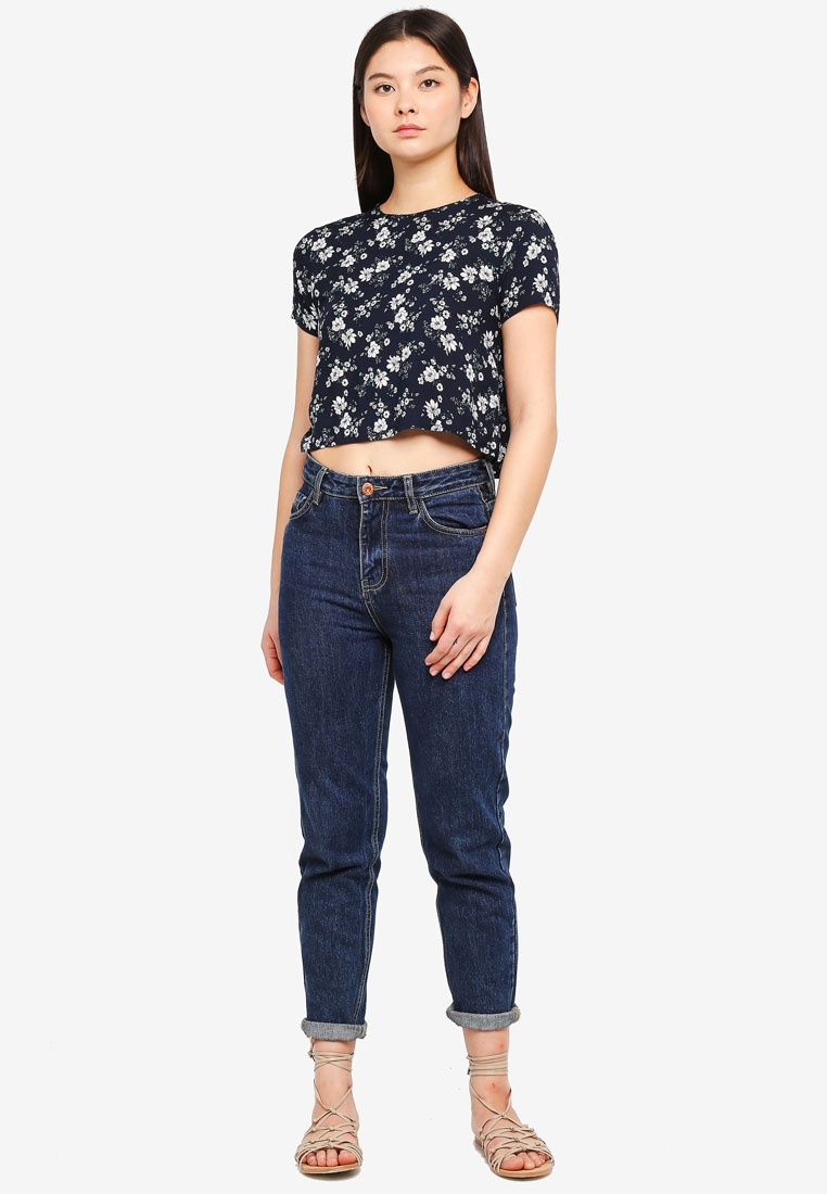 Something Borrowed Navy Printed Boxy Top Print Floral 4pv7q