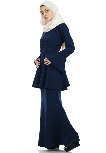 Buy Kayla Kurung with Frill Peplum from Ashura in Multi and Navy only 159.9