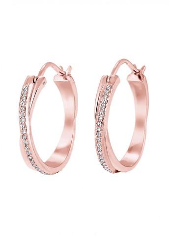 Elli Germany gold Perhiasan Wanita Perak Asli - Silver Anting Creol Swarovski® Crystal Lapis Rosegold CD346AC9644729GS_1