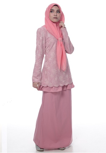 Baju Kurung Edwina from Denai Boutique in Pink