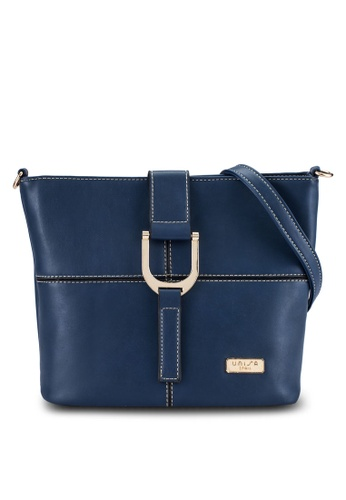Unisa blue and navy Faux Leather Sling Bag UN821AC0R9RVMY_1