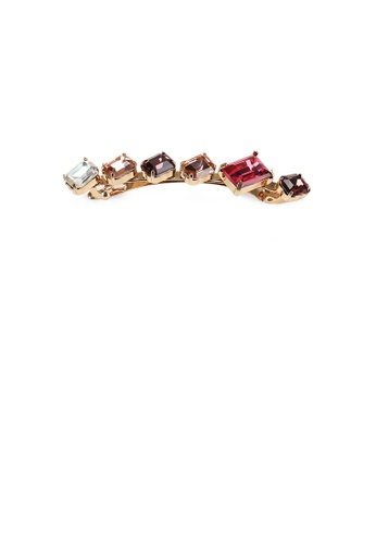 Glamorousky red Simple and Fashion Plated Gold Geometric Square Red Cubic Zirconia Hair Clip 18A80AC79ABEAAGS_1